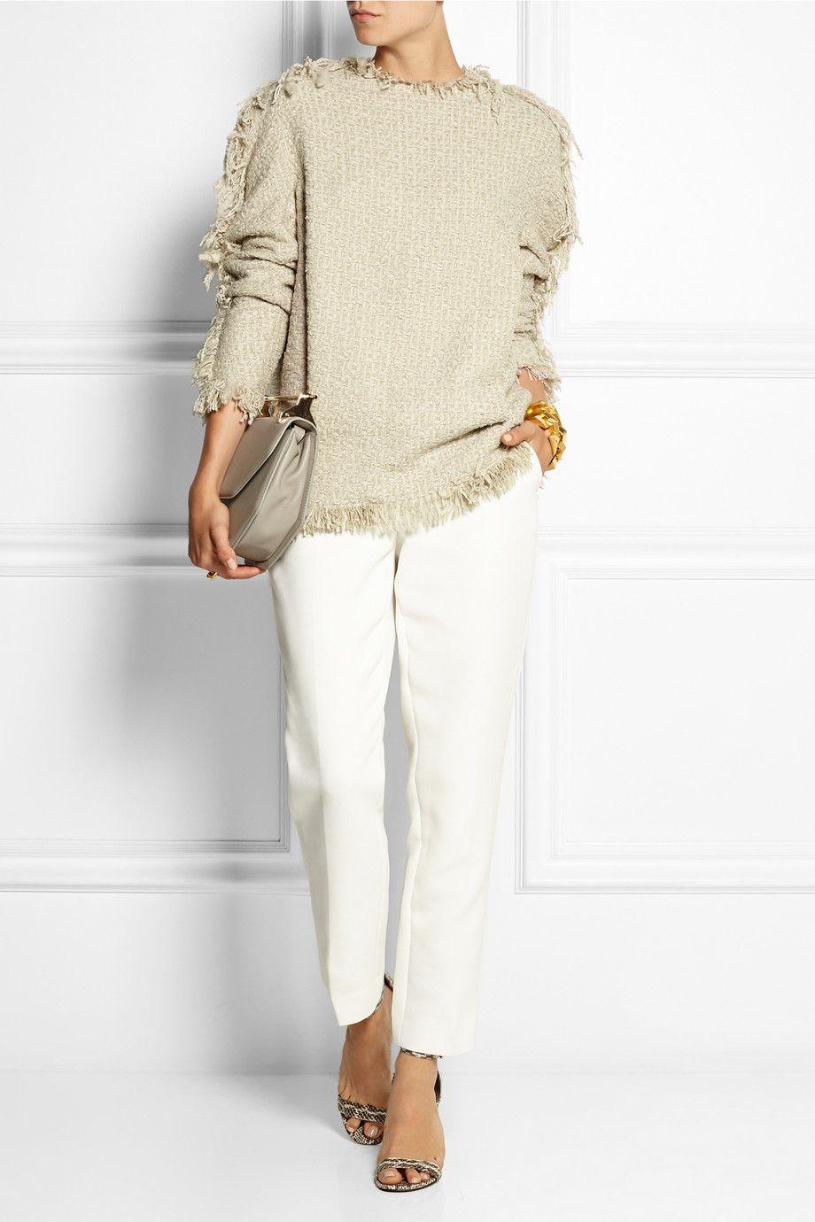 Lanvin|Haut en tweed de laine mélangée à franges