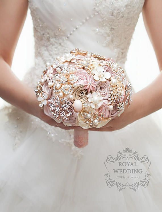 Rose Gold Wedding Bouquet Blush Pink Ivory Cream Brooch Bouquet Dress Bride Bridesmaid Bridal Jewelry Keepsake Custom Broach Wedding Bouquet #fantasticweddingbouquets