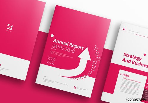 stock template of pink and white annual report layout brochure