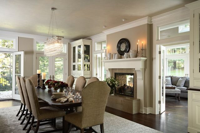 Dining Room With Renovated Two Sided Fireplace Into Porch