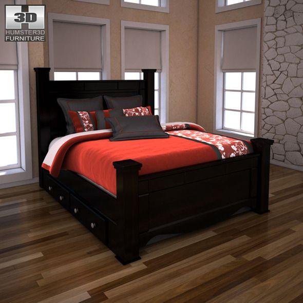 Ashley Shay Queen Poster Bed With Storage Black Bedroom Design Bed Design Bedroom Set