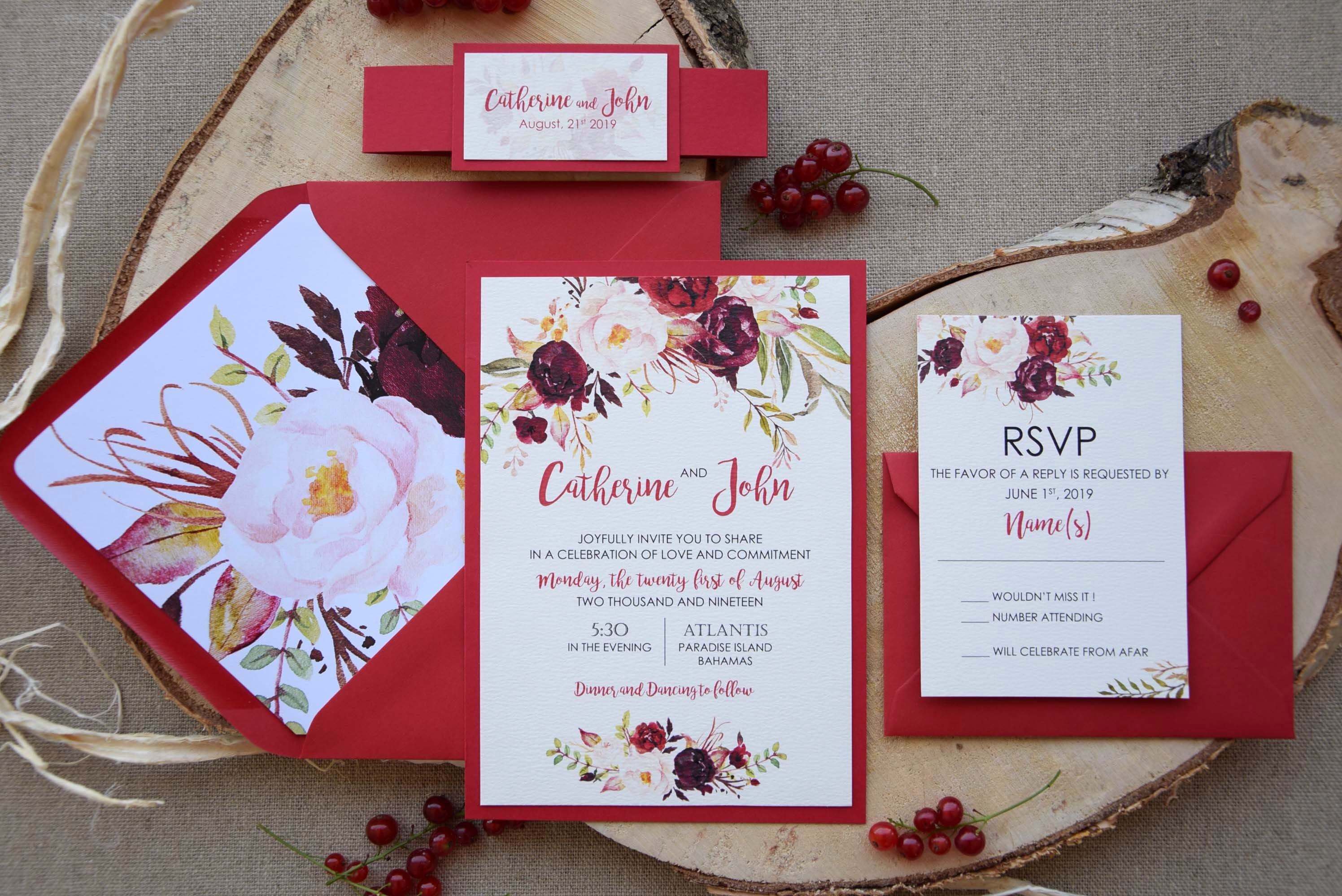Autumn Shabby Chic Wedding Invitation, Beautiful Red Wedding ...