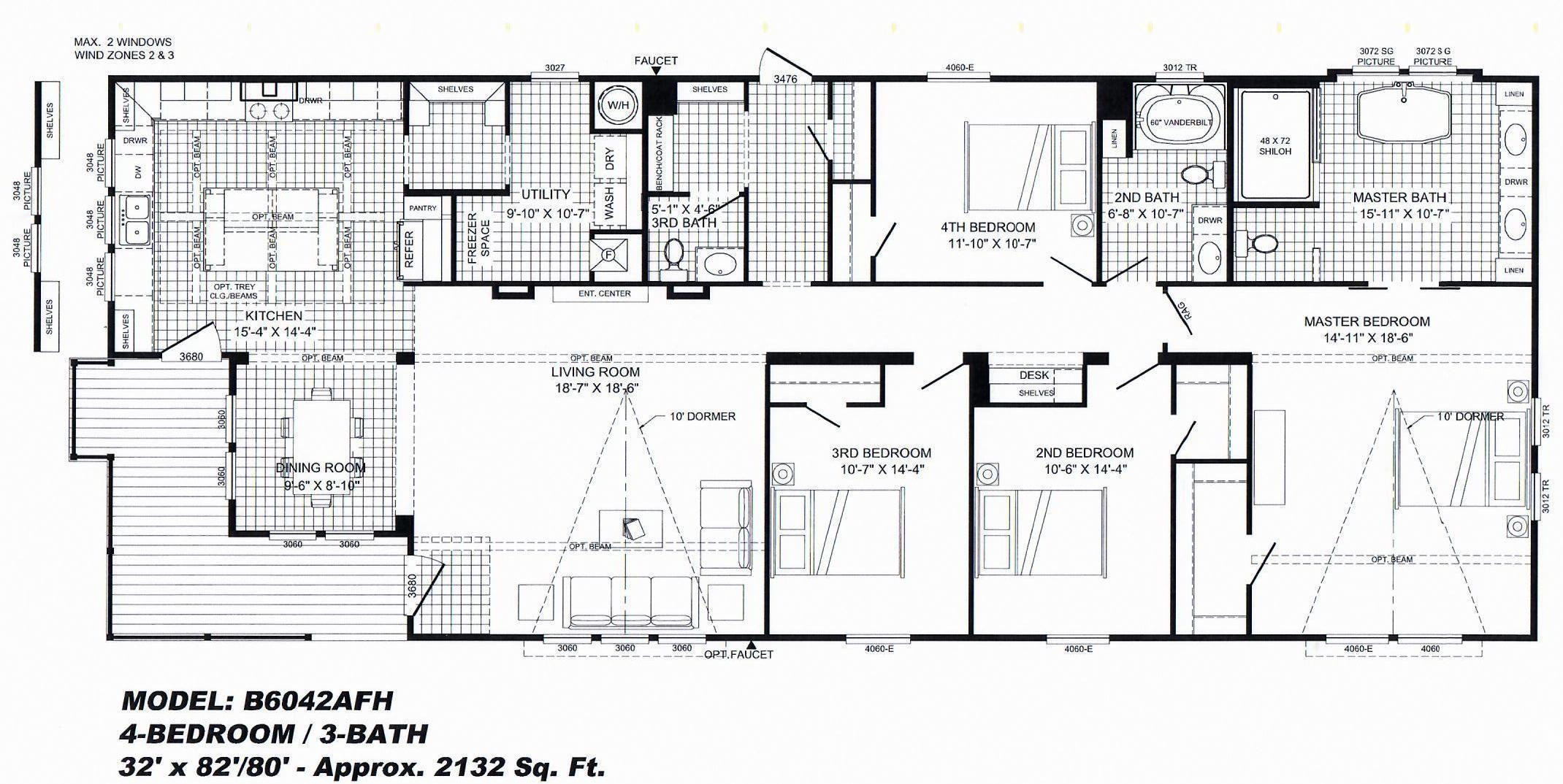 "4 Bedroom Floor Plan ""The Lulabelle"" Mobile home floor"