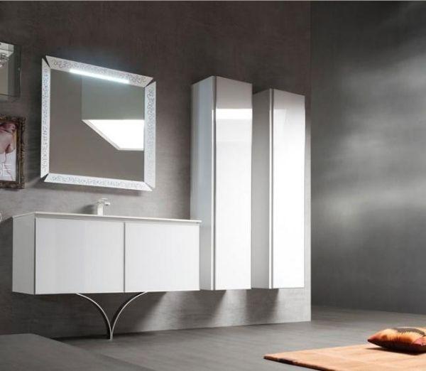 weisse badmobel, weiße hochglanz badmöbel wandspiegel leuchte | wohnen | pinterest, Design ideen