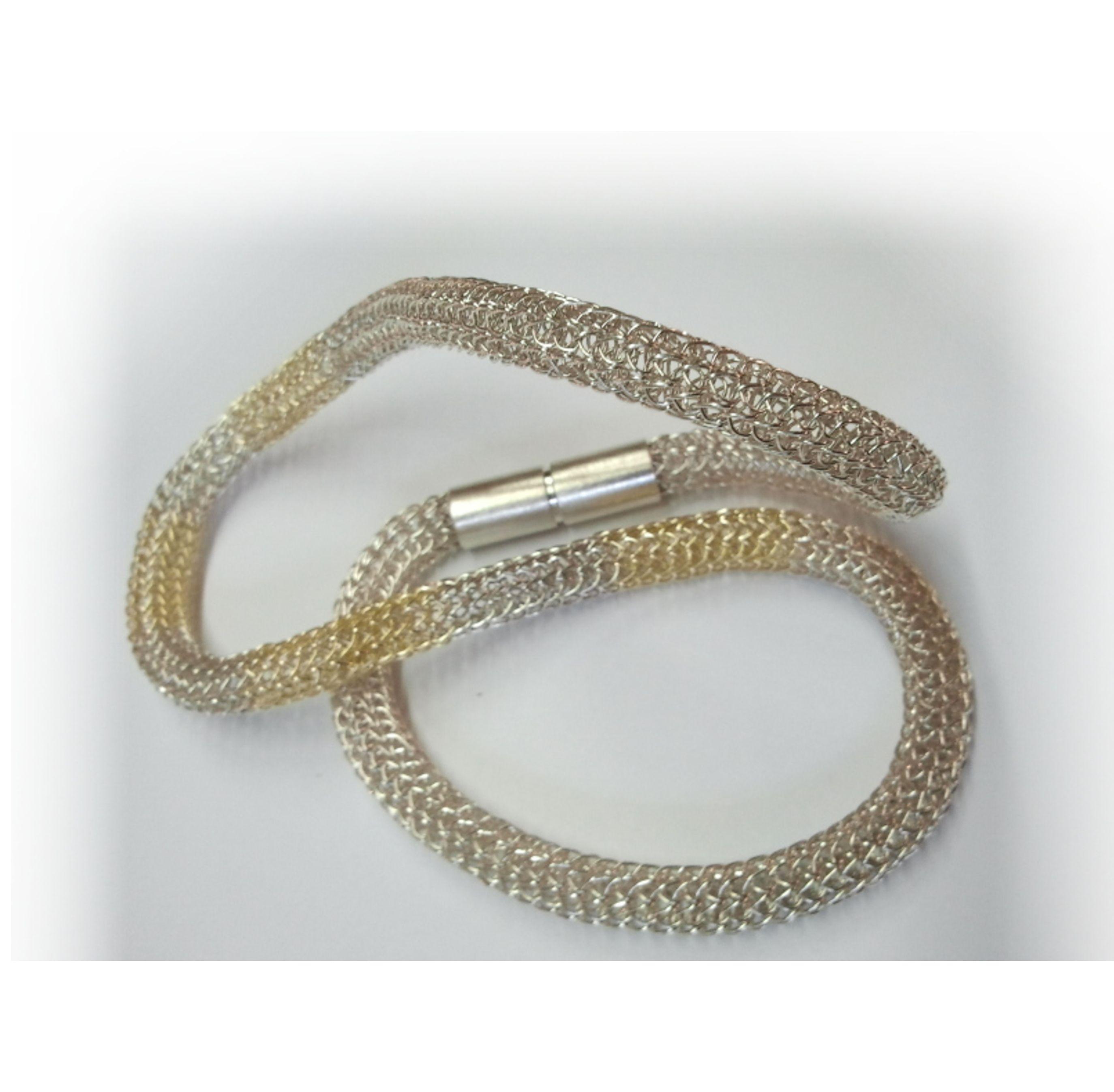 Strickkette, 925/- Silber und 750/- Gelbgold | Gold und silber ...