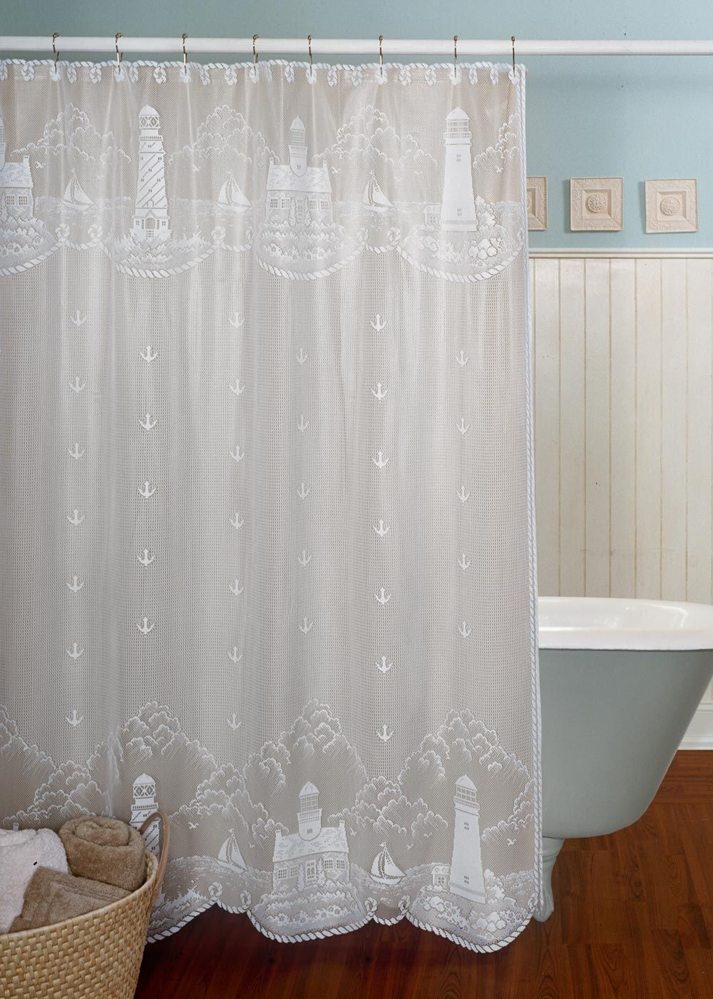 Decorate Your Lake House Bathroom With A Shoreline View With This Shower Curtain Lighthouse Summer Coastal Cortinas De Bano Cortinas Banos