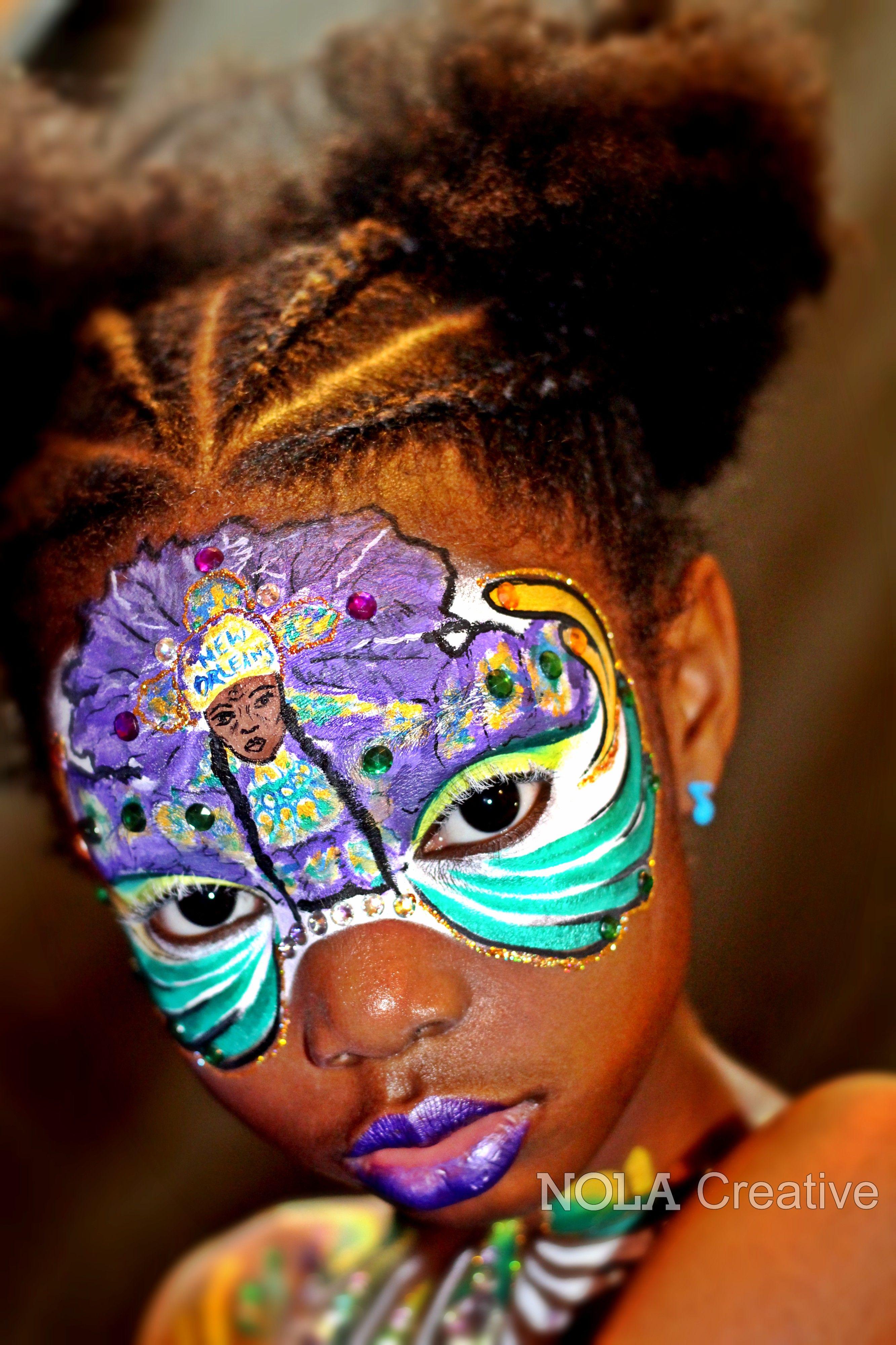 Mardi Gras Indian Inspired Face Art By Summer Carter Of Nola Creative Model Dream Carter