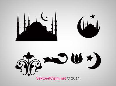 Vektorel Cizim Istanbul Lale Ay Cami Home Decor Decals Theme Stencils