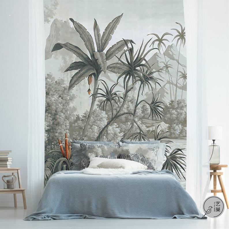 Peint peinture murale mur de papier peint rétro de plantes tropicales, Jungle Frorest arbres Scenic gris murale, salon chambre à coucher murales à la main