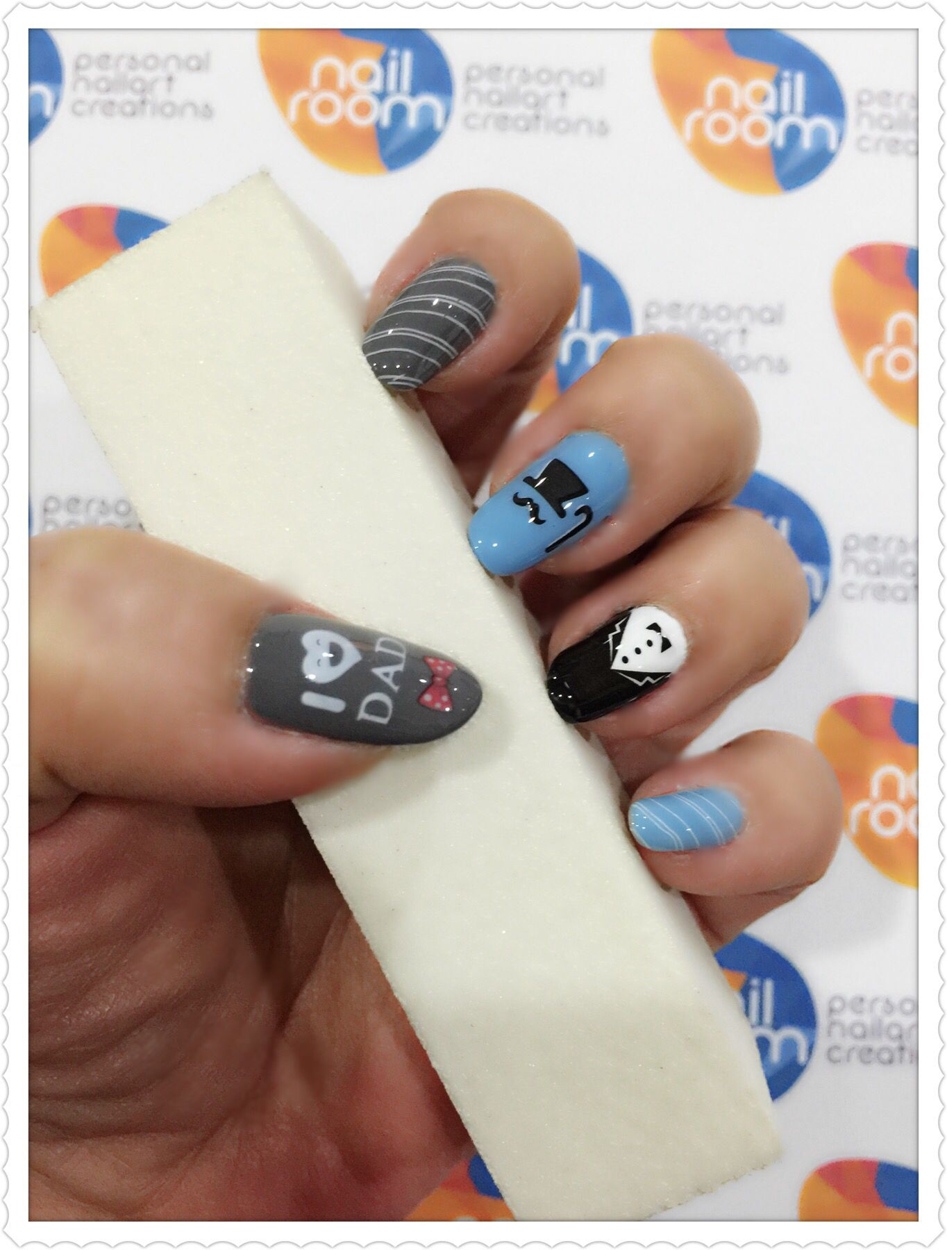 Father\'s Day nailart. Using nail stamping and water decals. Polishes ...