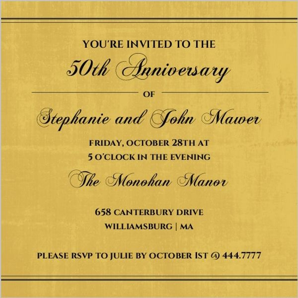 Wedding Invitations Old Fashioned: Old Fashioned Gold Script Anniversary Invite From Invite
