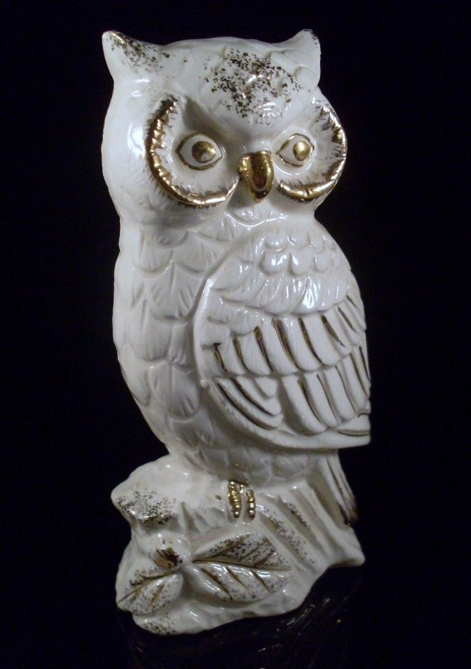 Abstract Owl Pottery Vintage White And Gold Ceramic Figurine By Theowllady On Etsy