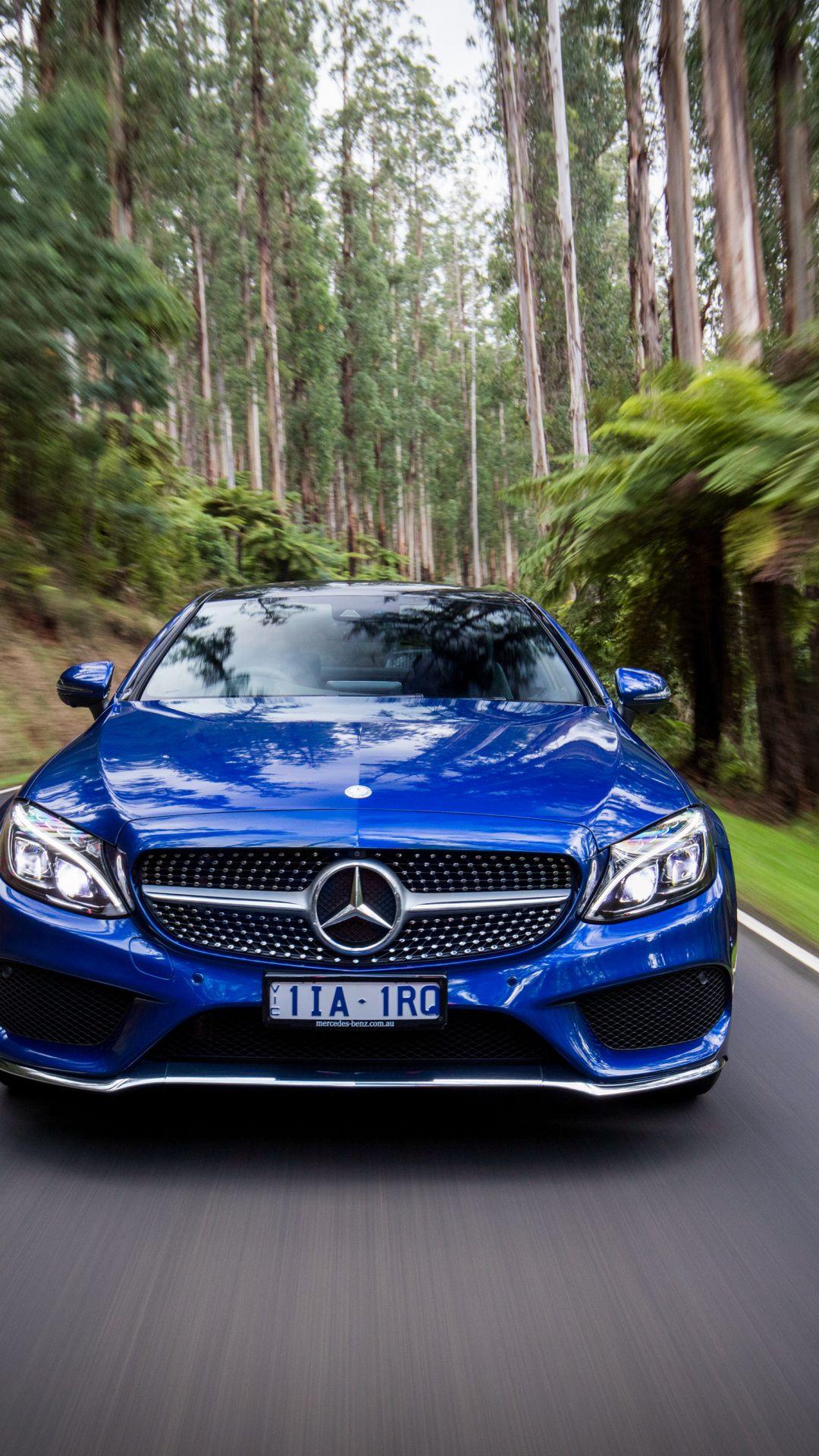 Motion Blur Mercedes Benz C Class Blue 1080x1920 Wallpaper