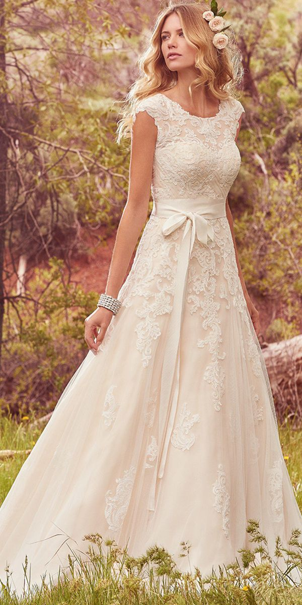 01446914f17 Save Modest Tulle   Satin Scoop Neckline A-Line Wedding Dresses With Lace  Appliques