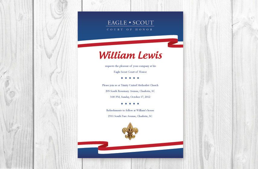 Eagle Scout Court of Honor Invitations \/ Card- Red, White, Blue - ceremony invitation template