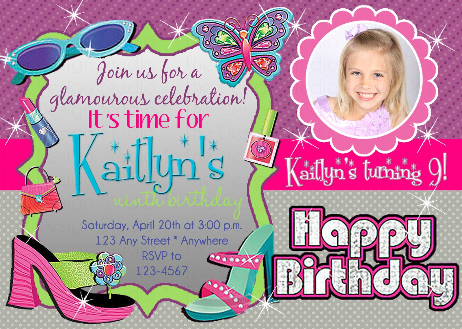 Personalized Glam Glitz Girl Party City Photo Picture Birthday ...