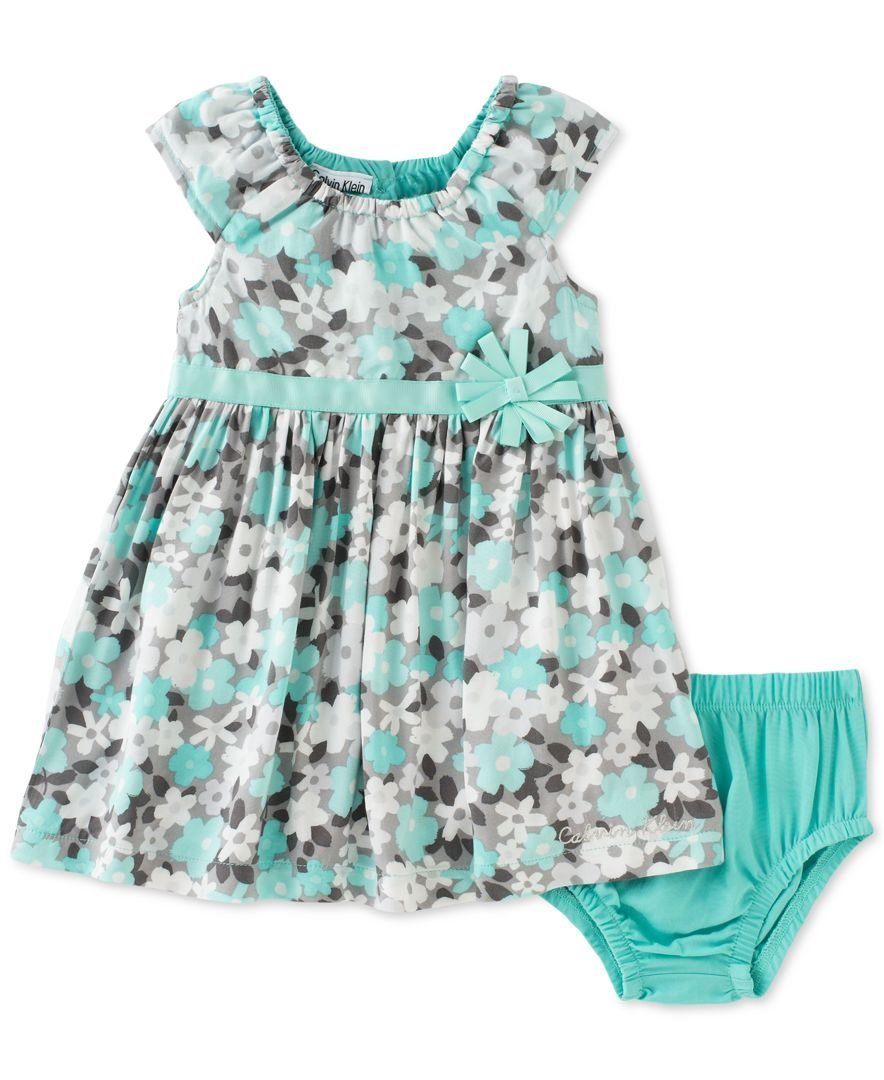 Calvin Klein Baby Girls' 2-Pc. Floral-Print Dress & Diaper Cover Set
