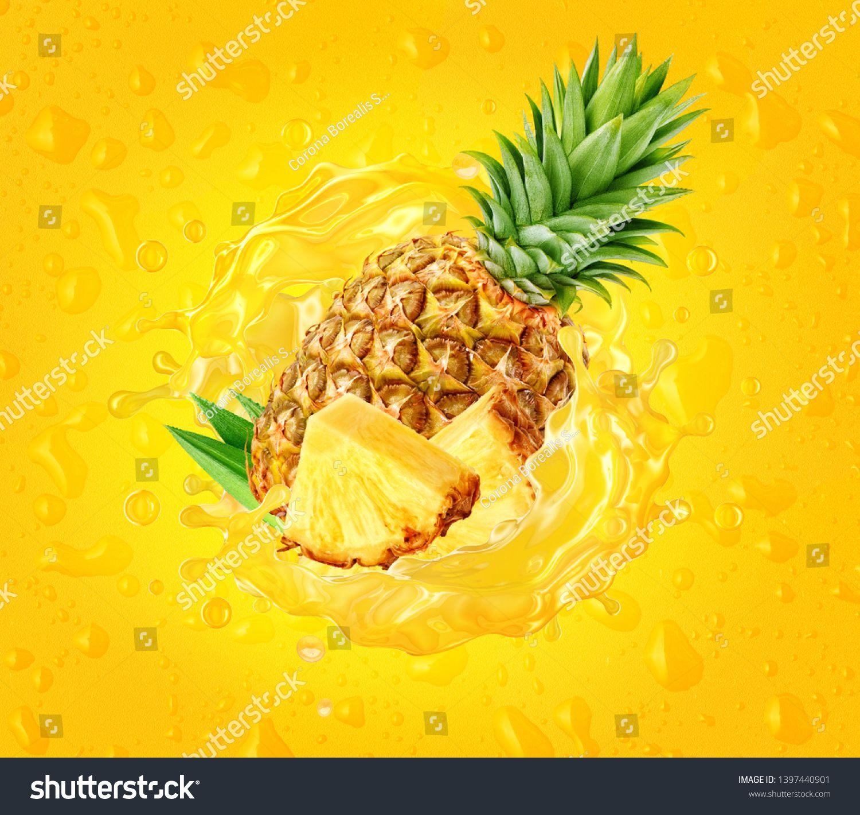 Fresh Juicy Pineapple Pineapple Slice And Pineapple Juice Splash Wave On Drops Background Healthy Food Or Healthy Juice Drinks Healthy Juices Yummy Smoothies