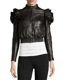 Valentino Ruffled Leather Biker Jacket, Black