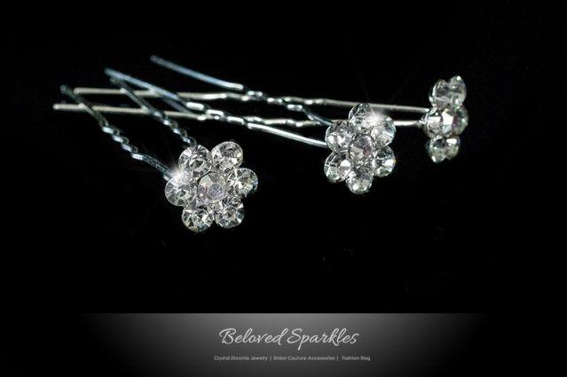 CRYSTAL FLOWER BRIDAL HAIR PIN – BRIDESMAID & FLOWERGIRL HAIR PIN >> BELOVED SPARKLES | WEDDING HAIR ACCESSORIES » Beloved Sparkles | Bridal Wedding Hair Accessories | Cubic Zirconia Jewelry