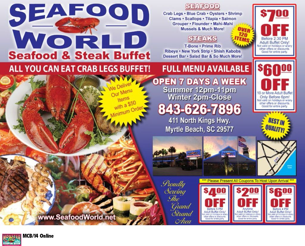 Seafood World Seafood And Steak Buffet Myrtle Beach Resorts Myrtle Beach Resorts Seafood Best Beaches In Maui