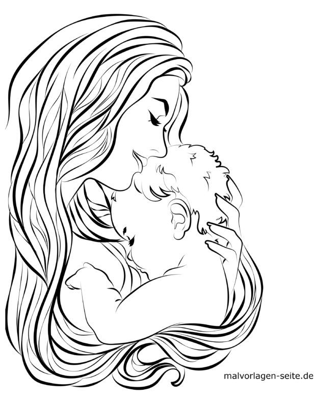 malvorlage mutter und baby  familie  kostenlose