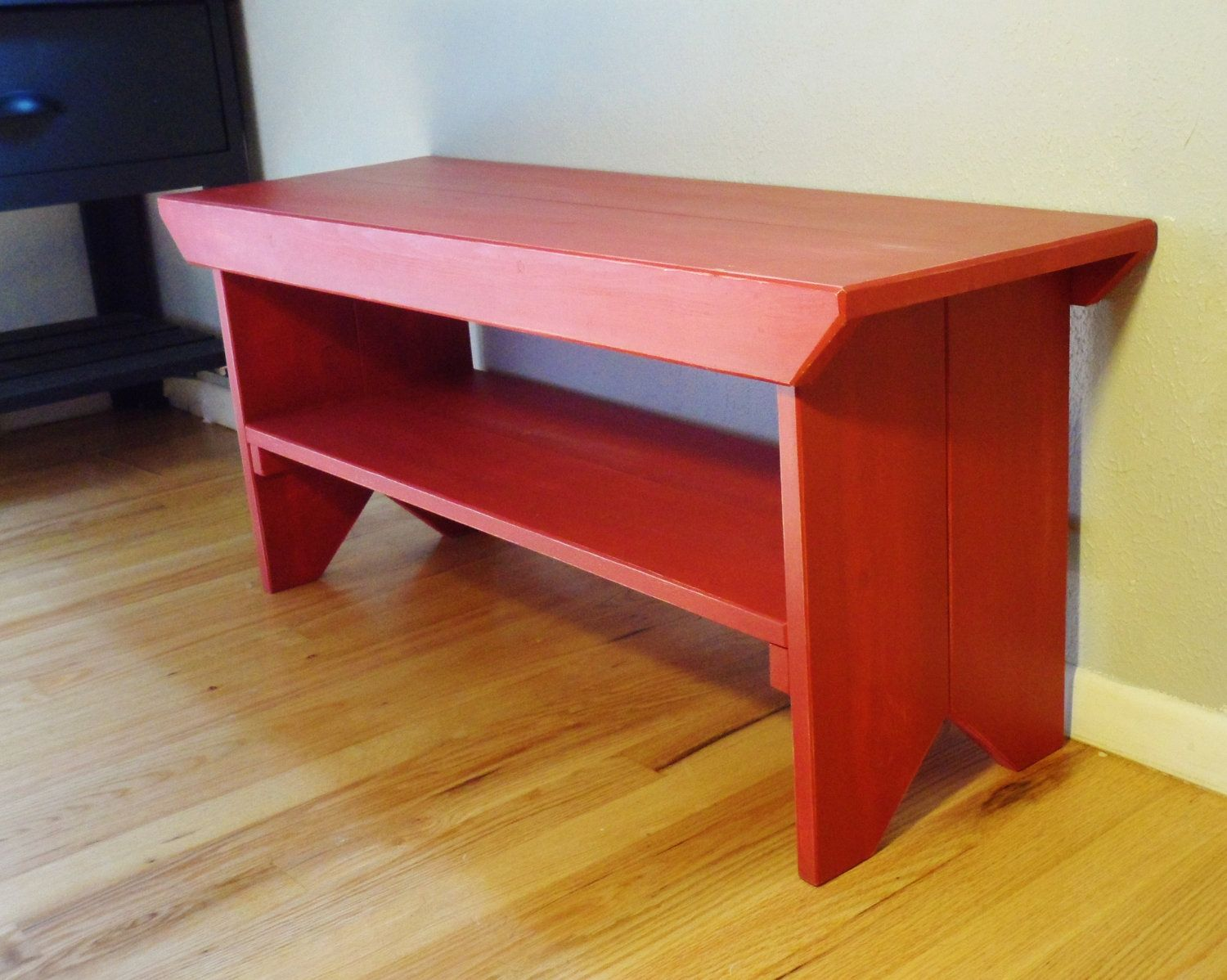 Wood Red Bench. 140.00, via Etsy. Built in furniture