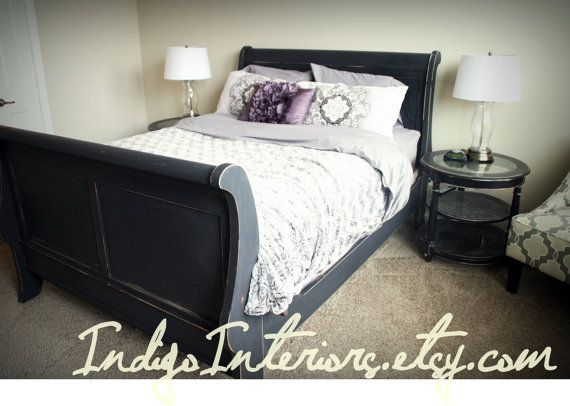 Distressed Black Queen Size Sleigh Bed by IndigoInteriors on Etsy ...