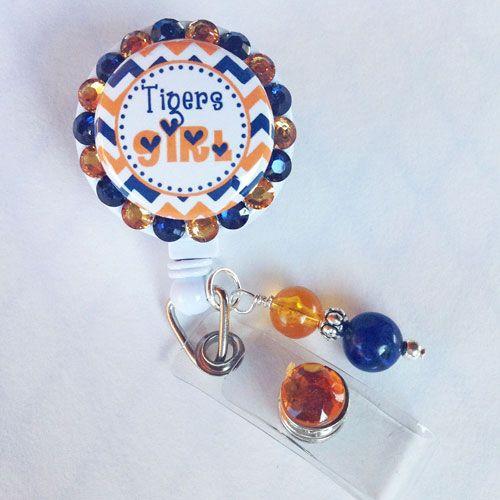 Custom College/Team Girl Chevron Bling Badge Holder - $12