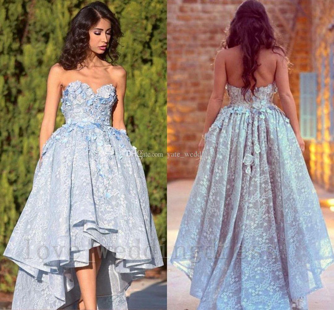 Vintage high lo prom dresses lace flowers evening wedding bridesmaid