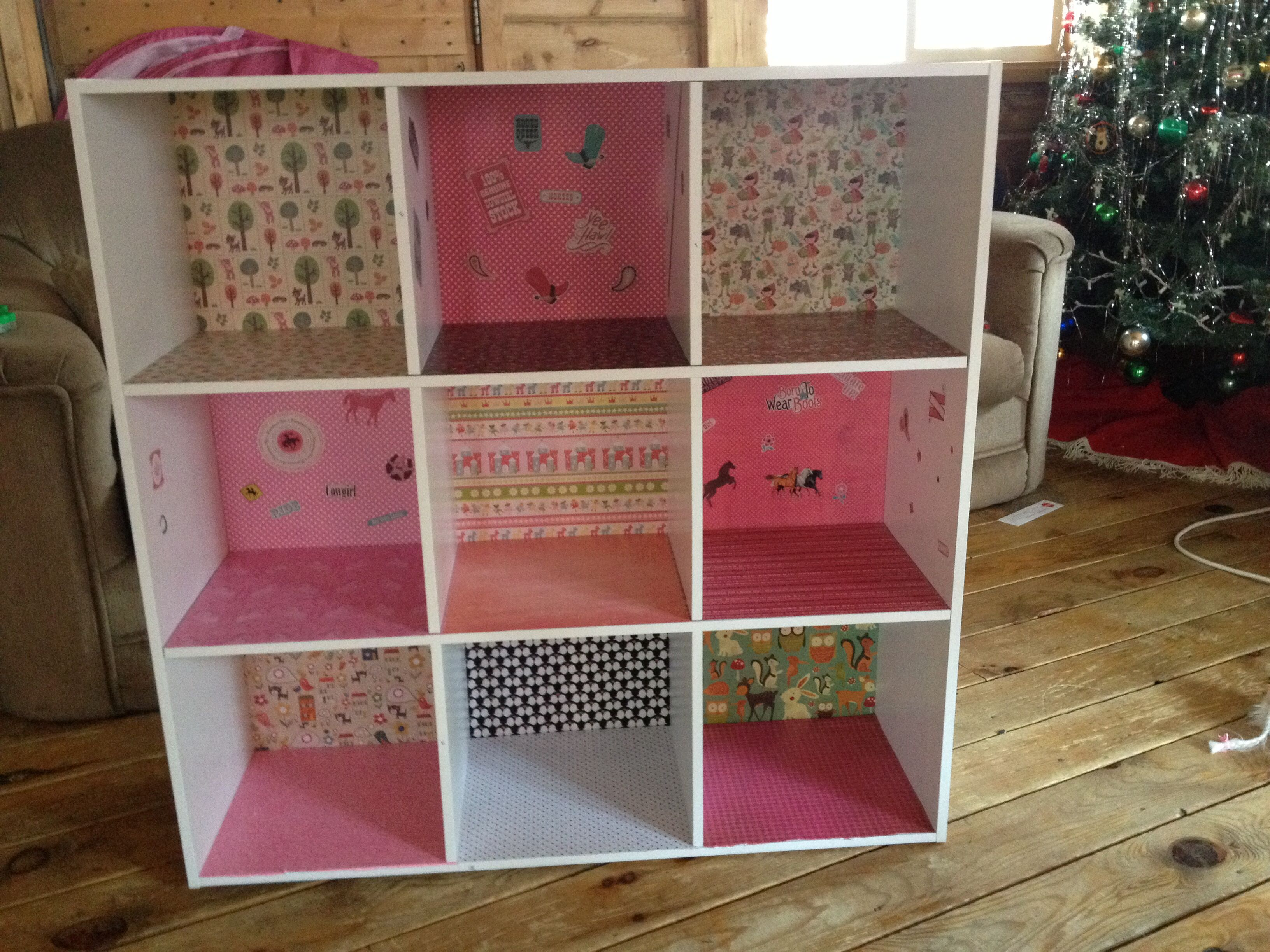 DIY Dollhouse Menards 9 Cubby Bookshelf Assembly Required 20 18 12x12 Pieces Of Scrapbook Paper Stickers 275 And Mod Podge 7