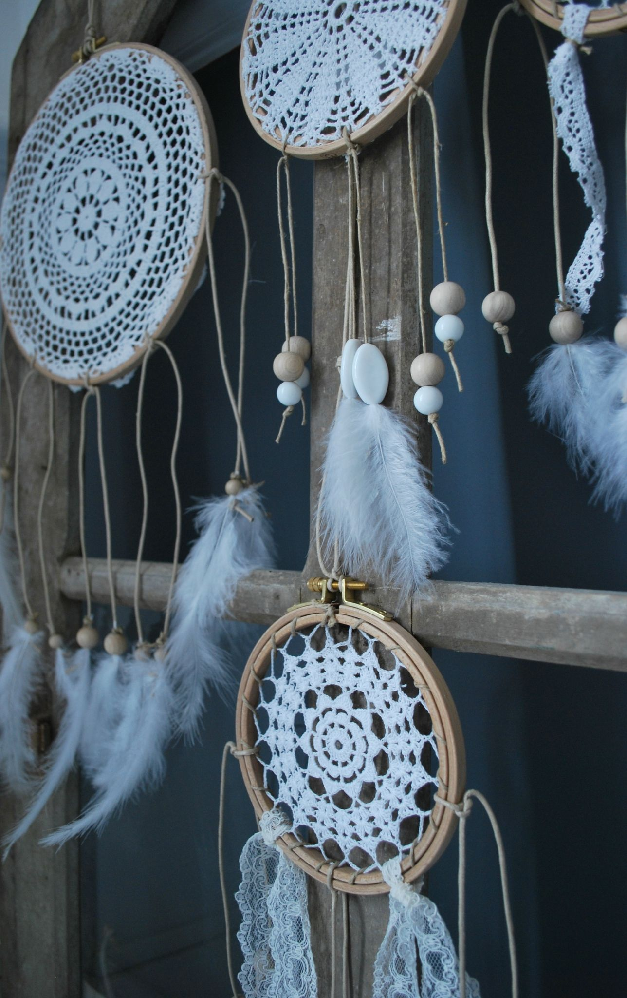 dream catcher napperon crochet tambour broder rubans dentelles perles plumes et. Black Bedroom Furniture Sets. Home Design Ideas