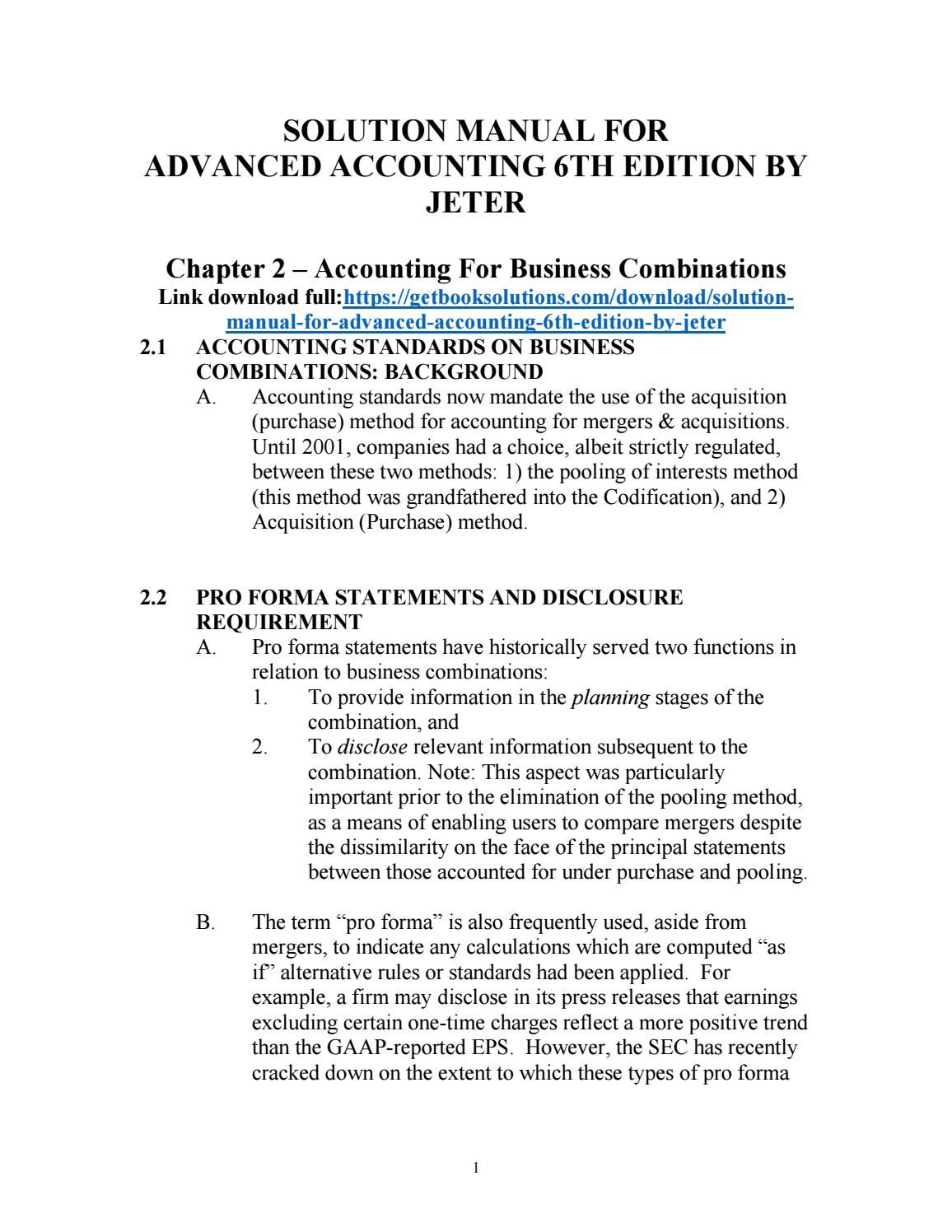 Solution manual for advanced accounting 6th edition by jeter | solution  manual | Pinterest