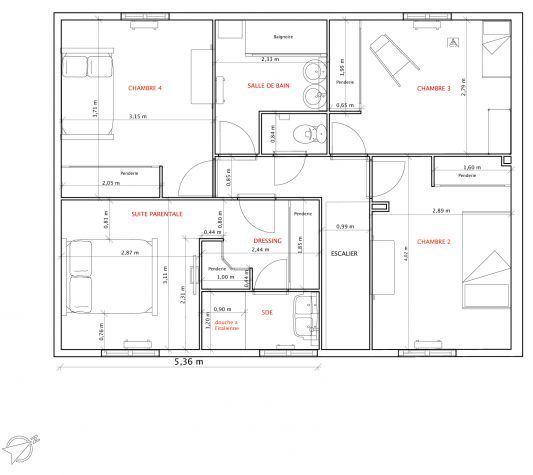 Plan de maison 120m2 plans maison pinterest plan de for Appartement f3 design