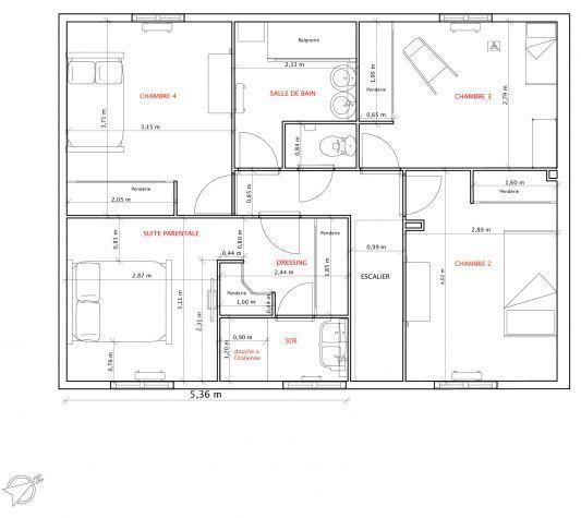 plan maison rectangulaire 120m2