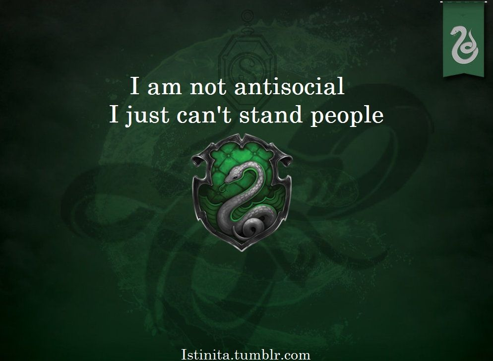Häuser Hogwarts Slytherin: I Am Not Antisocial, I Just Can't Stand People