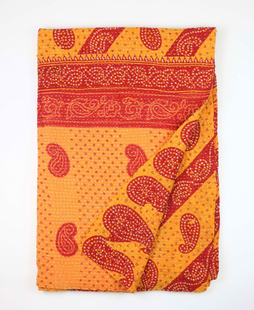 Kantha Throw Quilt with paisley details | Anchal Project