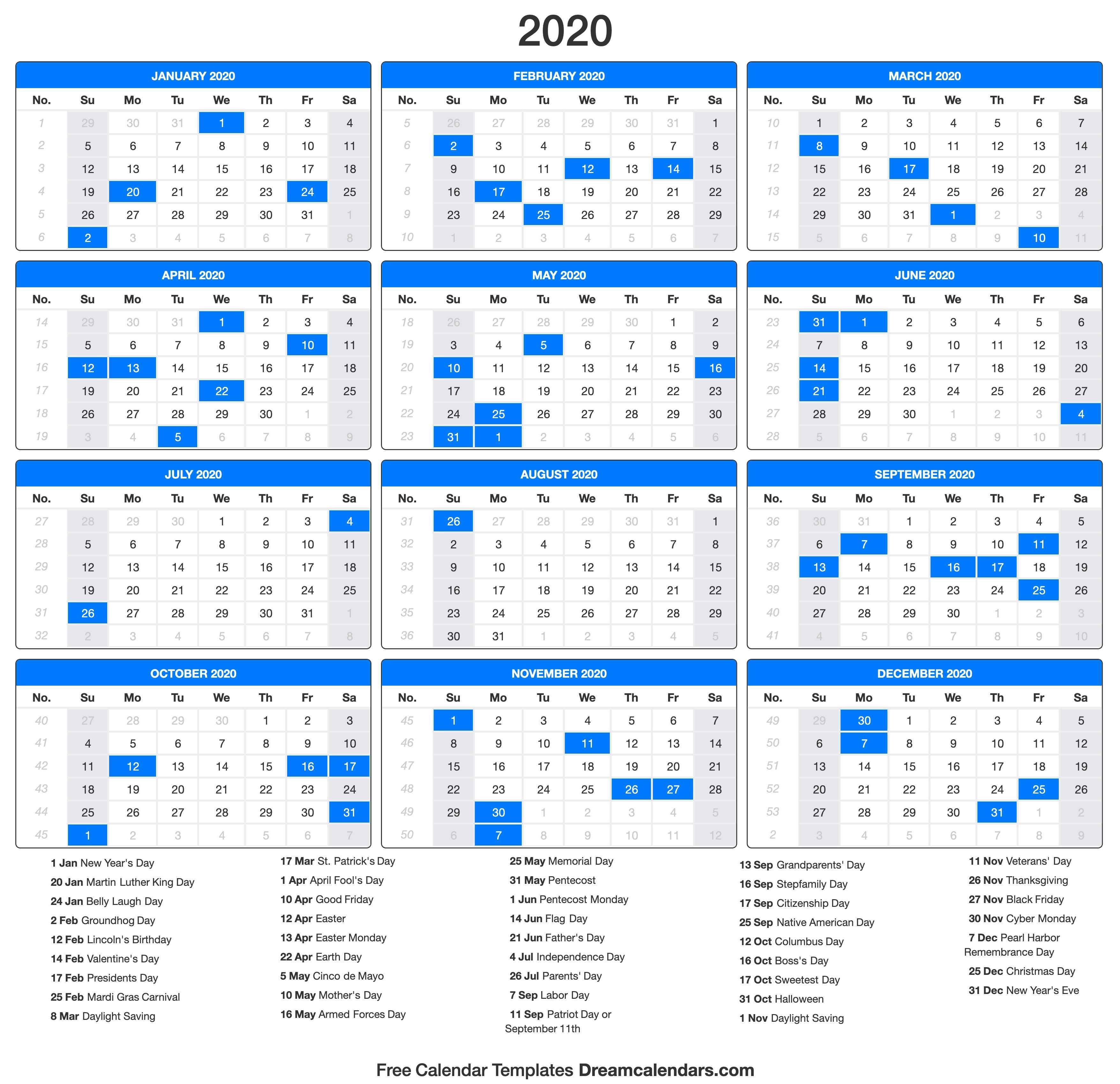 2020 Calendar Portrait In 2020 Us Holiday Calendar Calendar