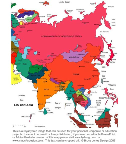 FREE world and country maps  CIS Asia Continent Royalty Free