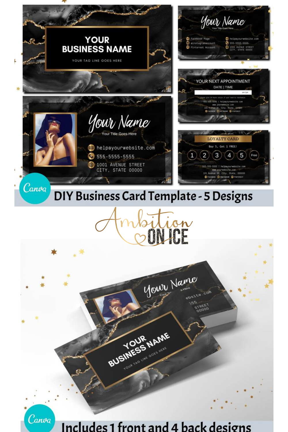 Black Agate Business Cards Canva Template Gold Glitter Business Card Design Appointment Card And Loyalty Card Instant Access Bagg Glitter Business Cards Business Card Design Business Cards Diy Templates