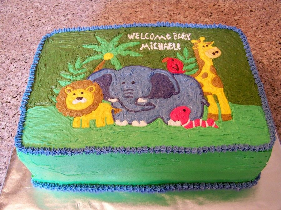 Jungle Baby Shower Sheet Cake On Cake Central Cakes