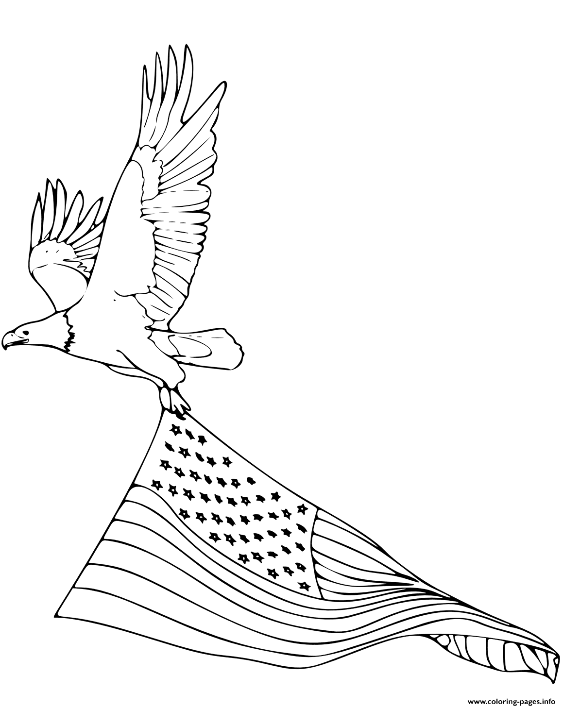 b469d33015a9 Print bald eagle carrying american flag coloring pages