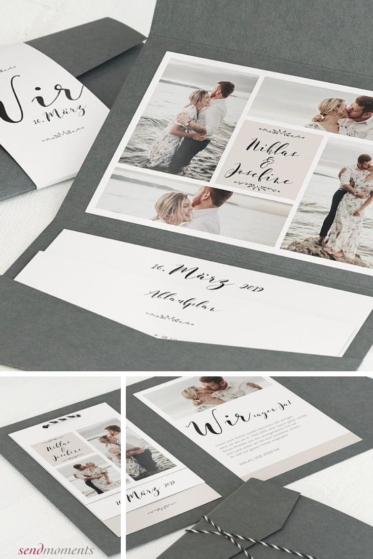 Blühende Zeit Pocketfold mit Band 120×170 mm Weiß