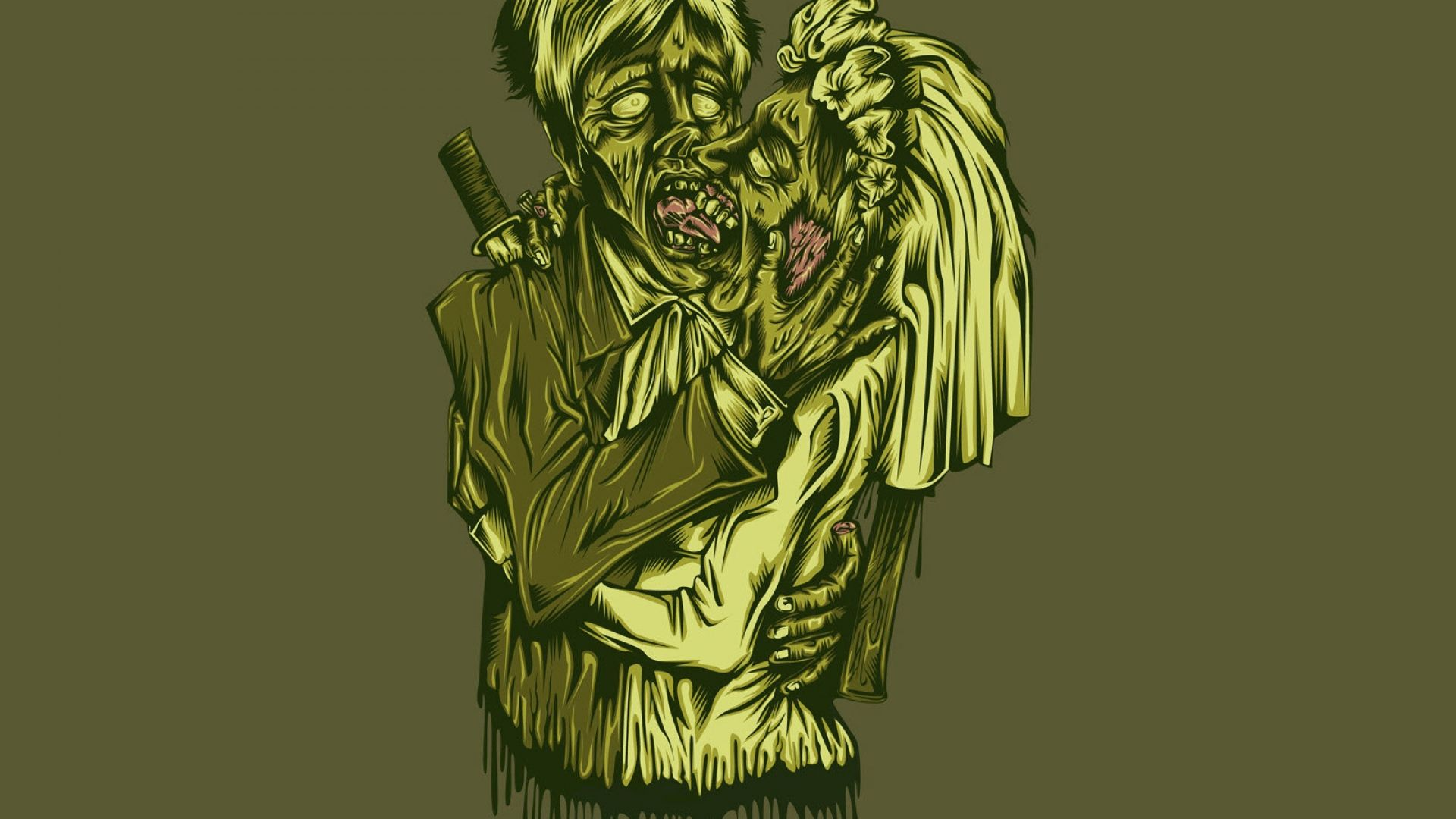 zombie, kiss, couple - http://www.wallpapers4u.org/zombie-kiss-couple/