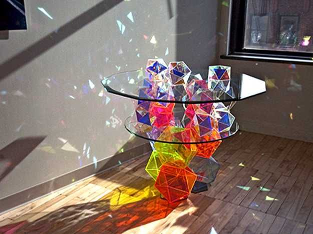 Glass Top Coffee Table Turned Into Art Object By Spectacular Crystal Colors