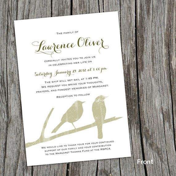Branch Mourning Card, Invitation, Memorial Service Announcement, Funeral  Service Announcement, Invite, Memorial Card   Birds  Invitation To A Funeral