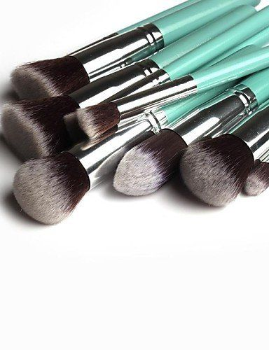 a8b2d8a1e486 Usw 10 Pcs Professional Makeup Brushes Set Silver and Gold Tube ...