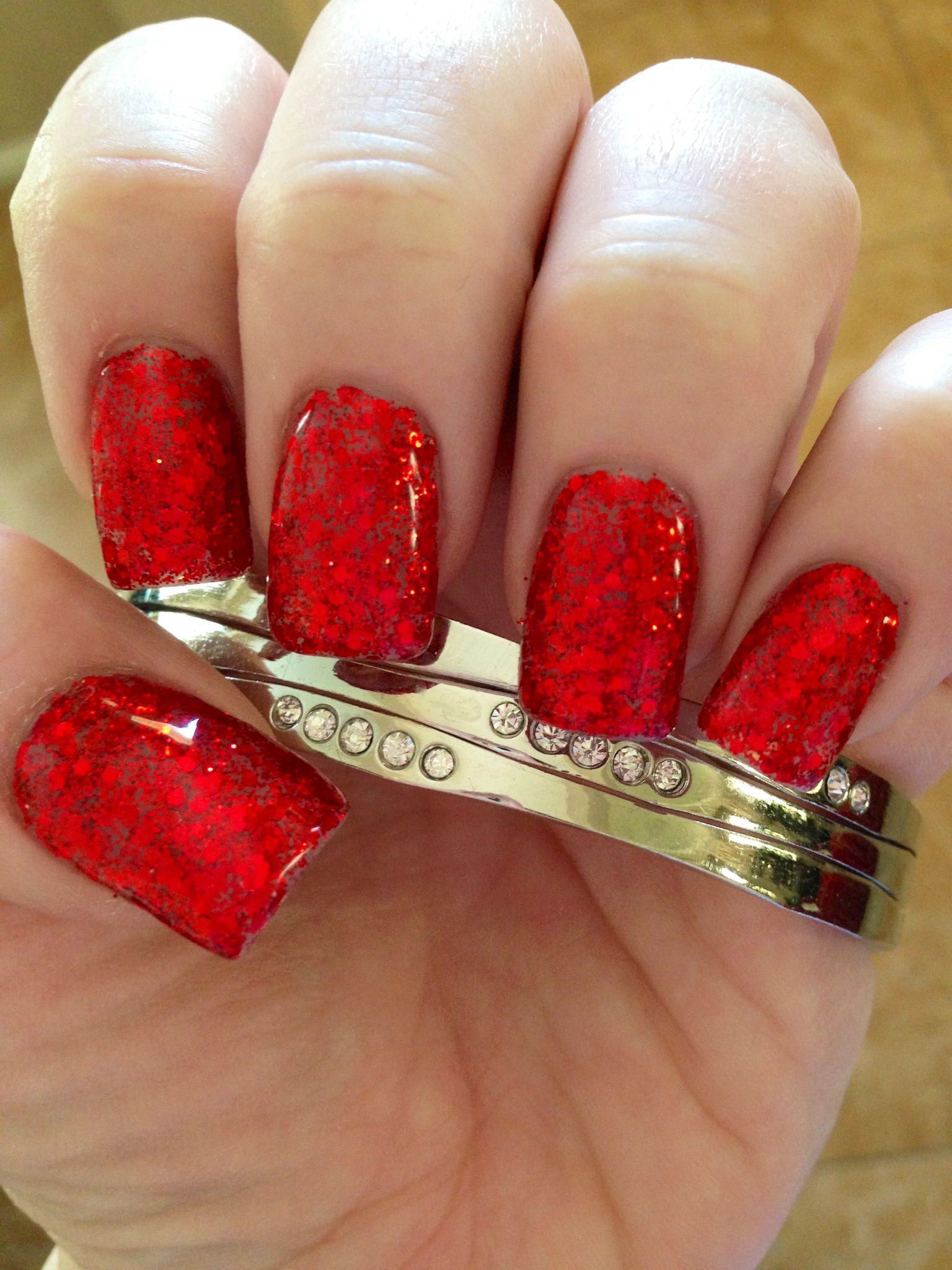 Bright red rockstar glitter gel nails! | My Nails ...