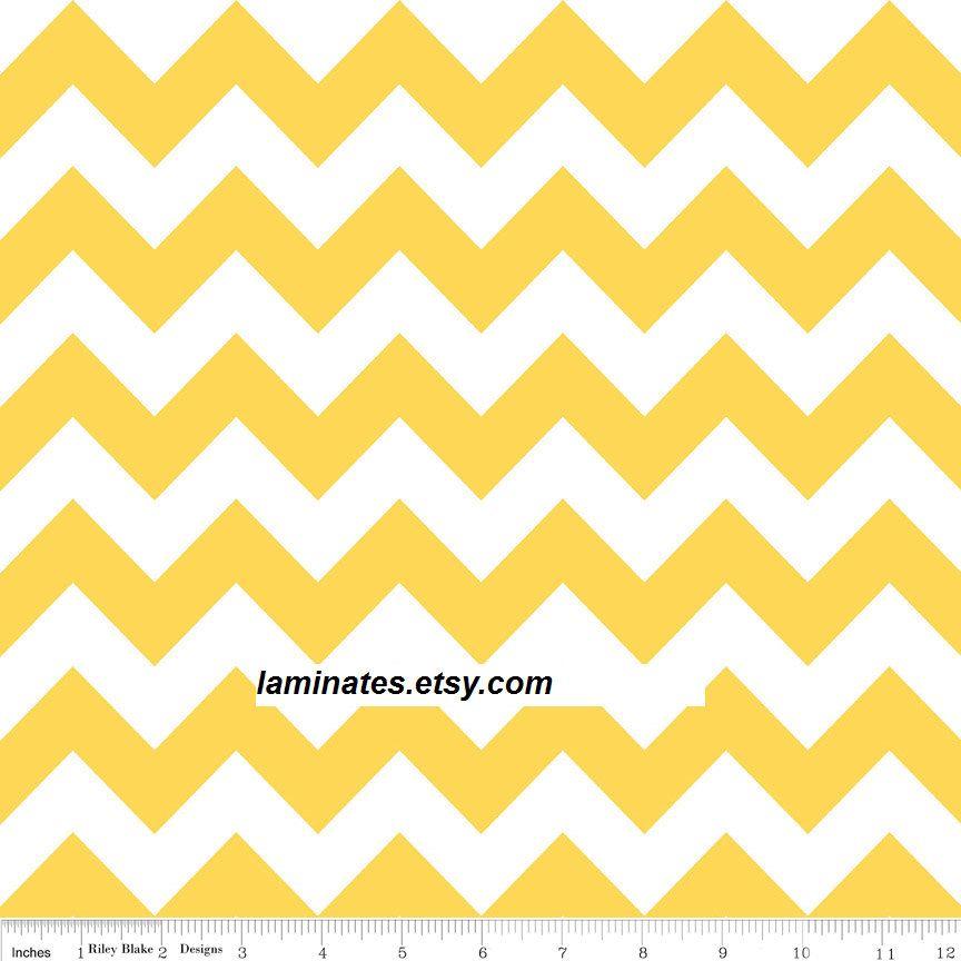Laminated cotton fabric Yellow chevron stripes (aka oilcloth) 18 ...
