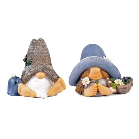 Unusual Summer Hat Garden Gnome Ornament In Resin - Mr & Mrs Designs Available